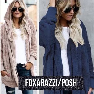 Jackets & Blazers - Kashmiri Furry Fleece Hooded Cardi Coat