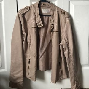 Taupe Leather Jacket 💕