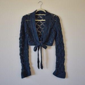 Zara Cropped Tie Crochet Sweater-Blue-Medium