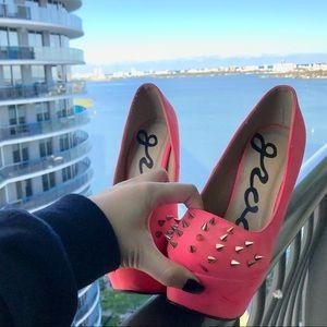 Shoes - BLACK FRIDAY SALE! Hot Pink Velvet Spiked Heels