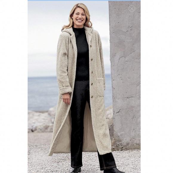 1aecf65c668 Heather grey long berber hooded fleece coat