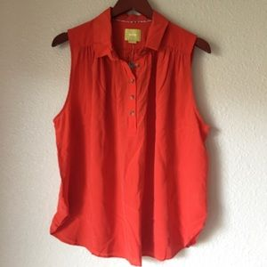 NWT Anthropologie Red Silk Blouse