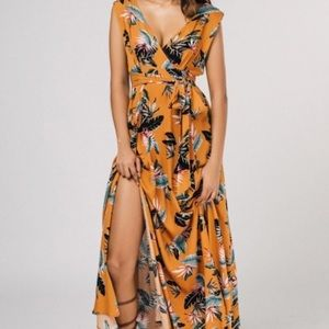 Mustard floral maxi with slit