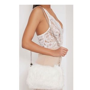 Faux Fur Crossbody/Clutch with Pom Pom