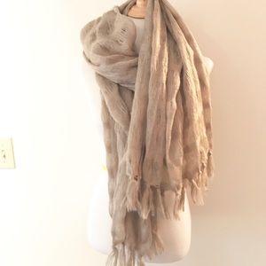 Taupe/Tan Stripe Soft Surroundings Cozy Scarf