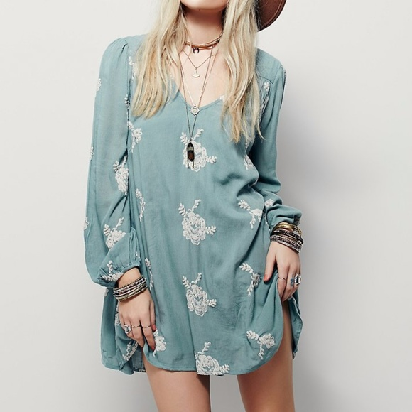 cd776d551a Free People Dresses & Skirts - Free People Embroidered Austin Dress Misty  Green