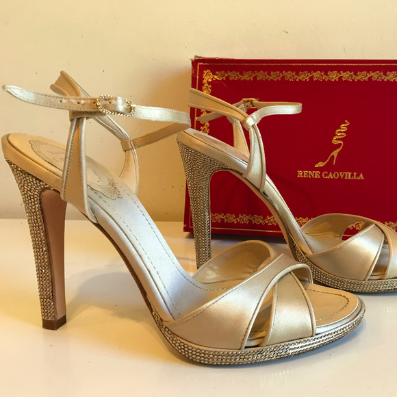 c8ff02049ca Rene Caovilla Embellished Satin Sandals size8