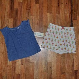 0d5b2e93 OshKosh B'gosh Matching Sets - New GENUINE KIDS Girl's Ice Cream Skirt Set  NWT