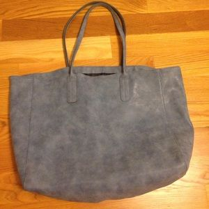 NEW! Saks Fifth Avenue Faux Suede Blue Tote