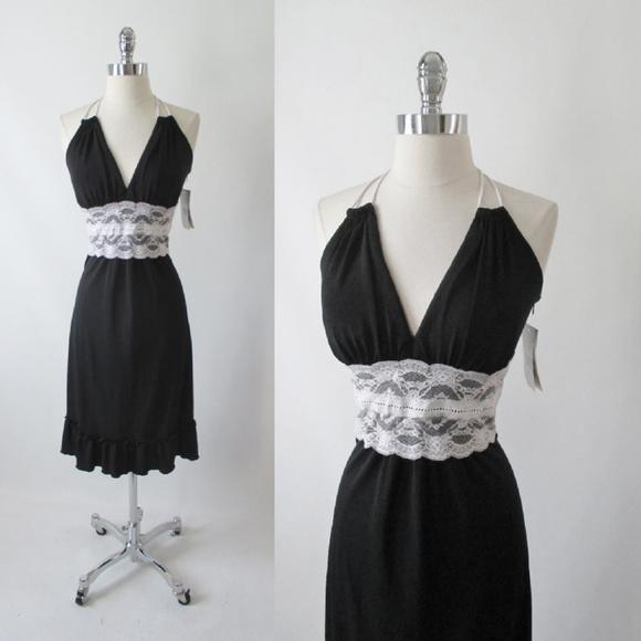 Sangria Dresses Black Jersey White Lace Halter Dress 12 Poshmark