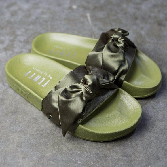 info for d7d39 1379c FENTY Puma RIHANNA Bow Slide Olive Green Satin NWT