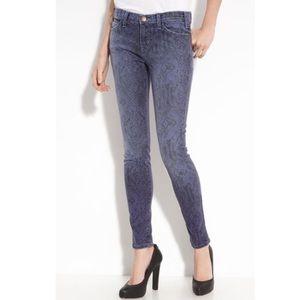 Current Elliot blue ribbon skinny snakeprint jeans