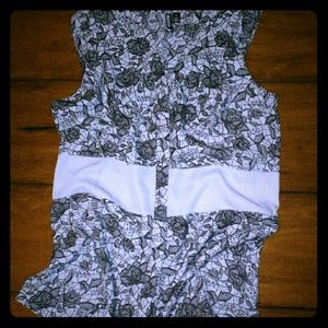 Gray floral button up sleeveless blouse
