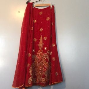 NEW Bollywood Skirt with Long Scarf Dupatta Red