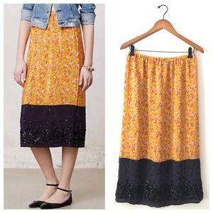 Yellow and Navy Maeve Silk Road Midi Skirt