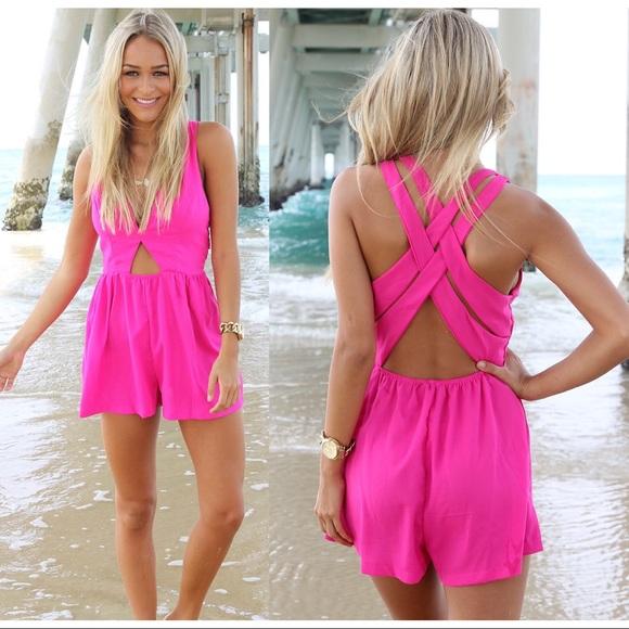 95e528a2254 ... Neon Pink Playsuit Romper. M 59f7af2af739bcc2990c4791