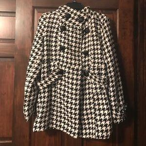 Women's Houndstooth Print Pea-Coat