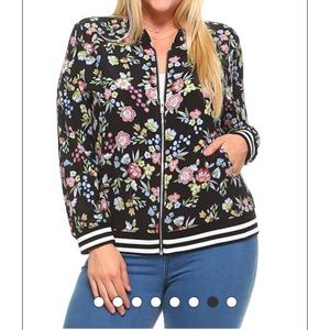 Sale Black Floral Print Bomber Jacket