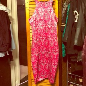 High neck satin dress. Pink and silver/gray.