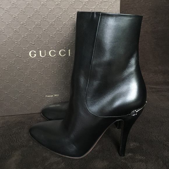 7e1abe288ac GUCCI Charlotte Leather Ankle Boots 100% Authentic