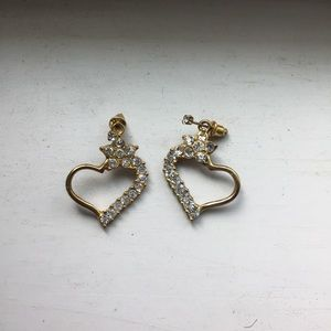 Jewelry - Sweet crystal heart earrings with separate studs