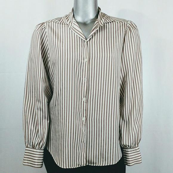 e6b3cf20893 Koret Tops - Koret White   Light Brown Striped Shirt