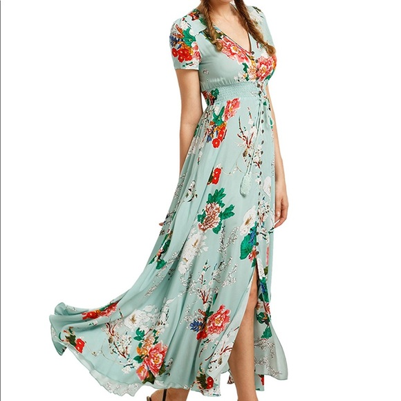 3a3b4b8359f Dresses   Skirts - Button Down Front Split Flowy Floral Maxi Dress