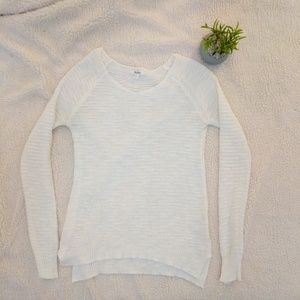 Ivory ribbed open knit long sleeved sweater