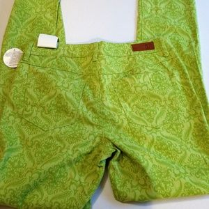 Paisley Skinny Stretch Lime Green Jeans Size 6