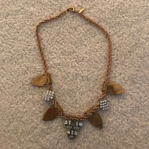Jewel mint Plated Gold crystal bib necklace