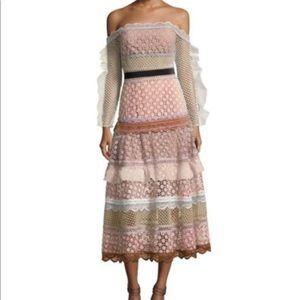 Self-Portrait Bellis Off Shoulder Lace Trim Dress
