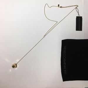 Rebecca Minkoff  Lariat Cube Necklace in Gold NWT
