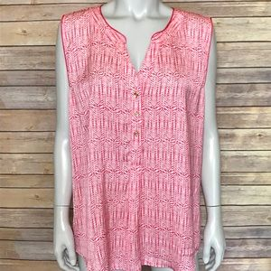 {hanna & gracie} pink and white sleeveless top