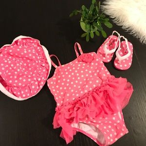 Bright Pink Polka Dot Swimsuit Set 12-18 Month