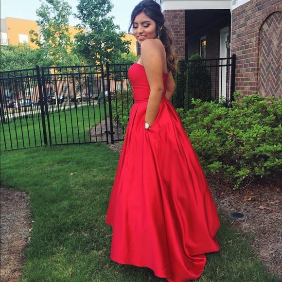 Betsy & Adam Dresses | Red Ball Gown Strapless Dress | Poshmark