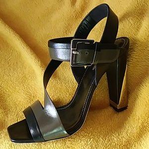 SERGIO ROSSI Olive & Black Stack Heel