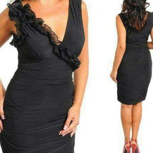 Dresses & Skirts - Short Black Dress with Ruffle Accent