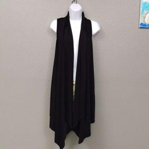 Additions Asymmetrical Black Stretchy Cardigan