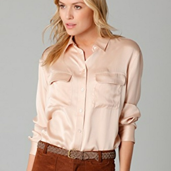 7308c028593de2 Equipment Tops - Equipment Signature Sand Washed Nude Satin Blouse