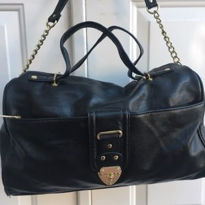 Olivia + Joy Black Leather Dr Satchel Handbag