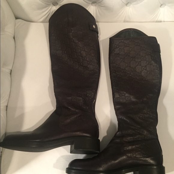e998b15ae Gucci Shoes   Authentic Brown Leather Flat Tall Knee Boots   Poshmark