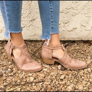 Warm Taupe Low Heel Ankle Booties