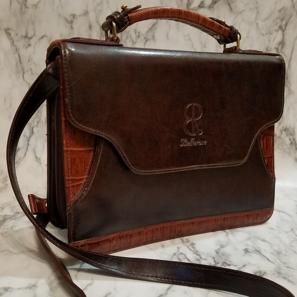 50% off top-rated professional exquisite style Bellerose Leather Purse Briefcase Style Brown- EUC