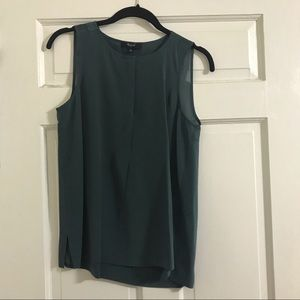 Madewell Green Silk Sleeveless Blouse