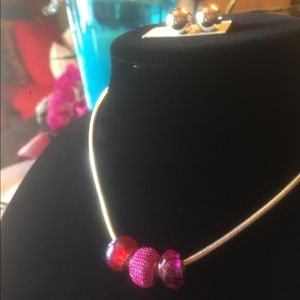 Jewelry - NWT ADD A CHARM STYLE NECKLACE W/ 3 PINK CHARMS