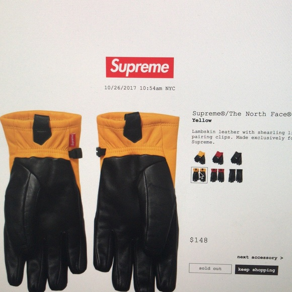 ca41743e4 Supreme X North Face Gloves-yellow - small NWT