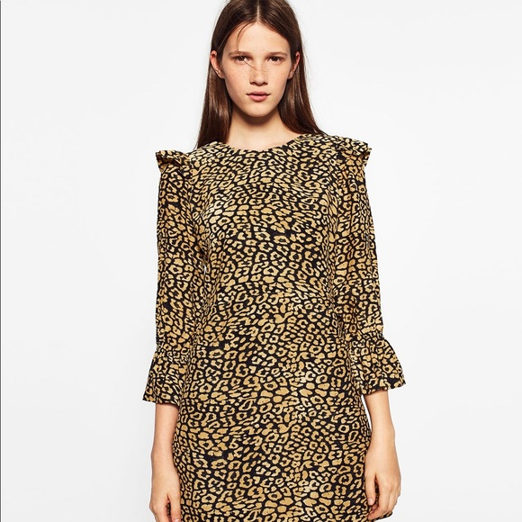18f9a788 Zara Dresses | Leopard Cheetah Print Ruffle Sleeve Dress | Poshmark