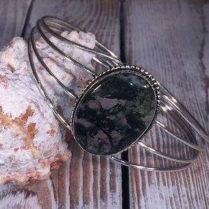 Jewelry - NWOT Moss Agate Cuff Bracelet – Green WG6334