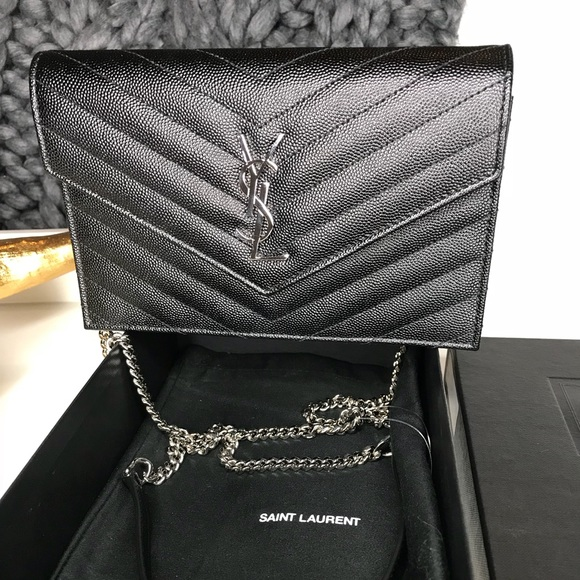 701b8b6cccb Saint Laurent Bags   Ysl Quilted Calfskin Leather Wallet On A Chain ...
