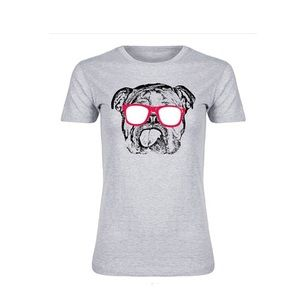 Boutique Tops - Athletic Heather Bulldog Fitted Tee